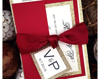 Red Wedding Invitations, Red and Gold Glitter Wedding Invitation, red invitations, gold invitations, wedding invitation, monogram invitation