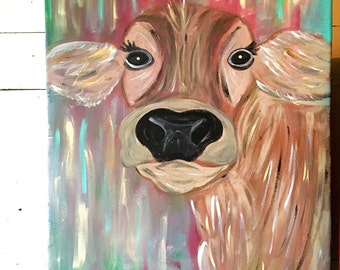 Cow Painting on Canvas- Cow Art- Cow Décor- Abstract Cow Painting- Canvas Art- Wall Art- Farmhouse Décor- Farm Décor- Farm Animal Painting