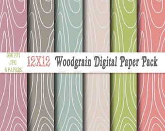Woodgrain Digital Paper Backgrounds Pack - 12x12 Instant Download