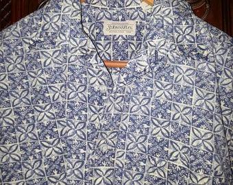 Vintage Mens Blue Square  Flower Print Hawaiian Shirt Rollup Sleeves