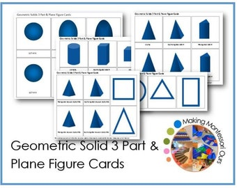 Montessori Geometric Solid 3 Part & Plane Figure Cards