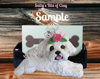 Maltese Dog with rose in topknot Business Card /Cell Phone / Post It Note Holder OOAK Sculpture by Sally's Bits of Clay
