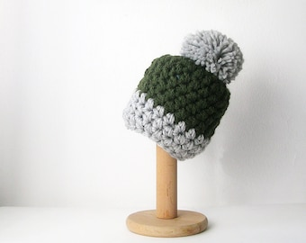 Green Pom Pom Beanie Color Block Hat Forest Green and Gray Knit Women's Beanie