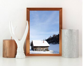 Winter print, snow print, wall art, wall print, fine art print, home decor, winter scene print, barn in snow print, winter photo