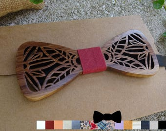 Wooden Bow Ties can be personalized with leaves, walnut wood bowtie, boho wedding
