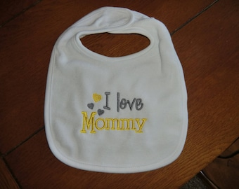 Embroidered Baby Bib - I Love Mommy - Neutral - Yellow/Gray