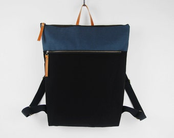 Unisex, Black & teal blue canvas Backpack, laptop backpack, diaper backpack, diaper bag. 7 inside pockets. Waterproof poly lining available