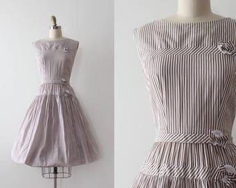 vintage 1950s dress // 50s brown striped day dress