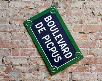 Vintage Paris Sign, Enamel Paris Street Sign, Authentic French Enamel Sign, Boulevard de Picpus, 12th Arrondissement, Paris Flea Market