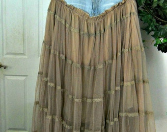 Seven for All Mankind bohemian ballroom  jean skirt  taupe tulle vintage lace tiered ruffled Renaissance Denim Couture belle bohémienne
