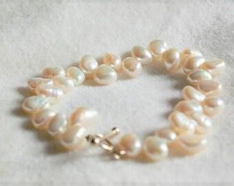 Christmas gift, jewellery, bracelet, jewelry, handmade, ivory, freshwater pearl,  bracelet