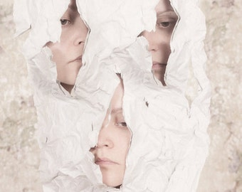 Just A Glimpse - FREE SHIPPING Surreal Photo Print Conceptual Creepy Portrait Dark Art Cream Light Ripped Paper Triplet Siamese Decor Wall