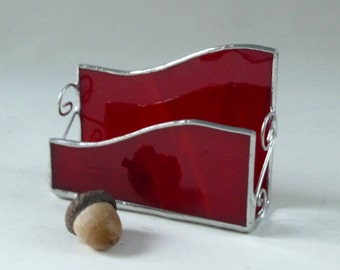 Stained glass business card holder - red glass, ruby red glass, gifts under 25, new business gift, desk organizer, new job, gift for boss
