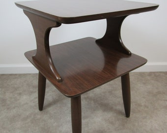Vintage very clean wood and formica top end table mid century two tier