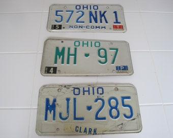 Choice 1980's Ohio License Plate NK 1, MJL, MH