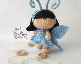 Amigurumi doll Butterfly PDF instant download  Butterfly funny toy Knitting pattern Knitted round PDF cute pattern Butterfly softie doll