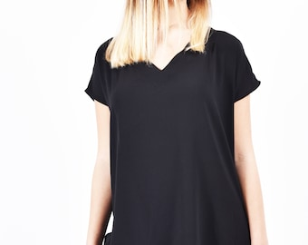Oversized Black Blouse  Short Sleeve Loose Fit Top Womens  Plus Size V neck Shirt