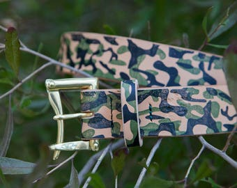 "1.5"" Hand Printed Camo Herman Oak Vegtan Firefighter's Quick Release Belt with Brass or Black Buckle"