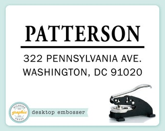 Embosser - PATTERSON Style - Desk Model - Personalized Return Address - Embossing Stamp Seal - Wedding Housewarming Gift