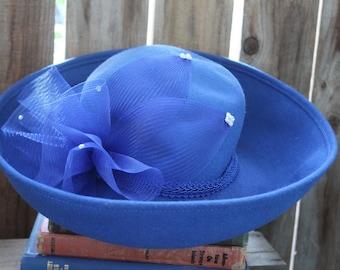 Blue Wool Hat Vintage 1960's Blue Wide Brim Hat Bright Blue Bowler Hat Decorative Blue Hat Blue Rhinestone Hat Blue Formal Hat Blue Tule Hat