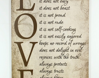 """Tan Wood Sign """"Love is patient, Love is kind"""" Inspirational Home Wall Decor wedding gift"""