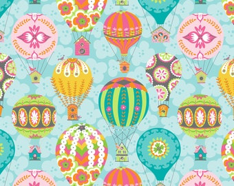 Hot Air Balloon Fabric, Blue Fabric By The Yard, Blend Fabrics, Cotton Sewing Material, 1 Yard Fabric, DIY Sewing Projects, Summer Quilts