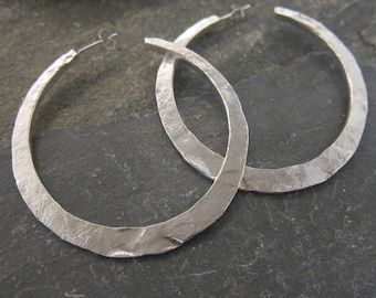 "Hoops earrings, Sterling Silver, ""Estrella"" made in France, handcrafted. Reclycled Sterling Silver."