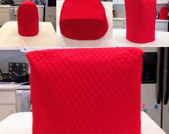 Red Small Appliance Covers Set Quilted Fabric Build Your Own Dust Covers Collection Made To Order