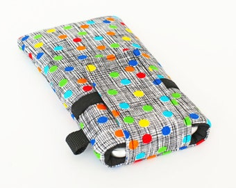 Smartphone Covers, iPhone 8 Plus Pouch, Custom Phone Sleeve, Cute Cell Phone Sleeves - colorful dots in black and white crosshatch
