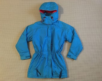 1990's, drawstring waist, hooded, parka, in bright blue and red, by Columbia, Women's size Small