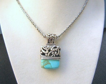 Gorgeous Turquoise Matrix Pendant on Heavy Sterling Byzantine Chain