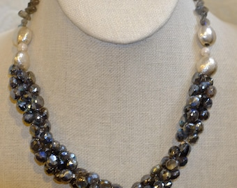Chunky Pyrite Necklace with Silver Accents