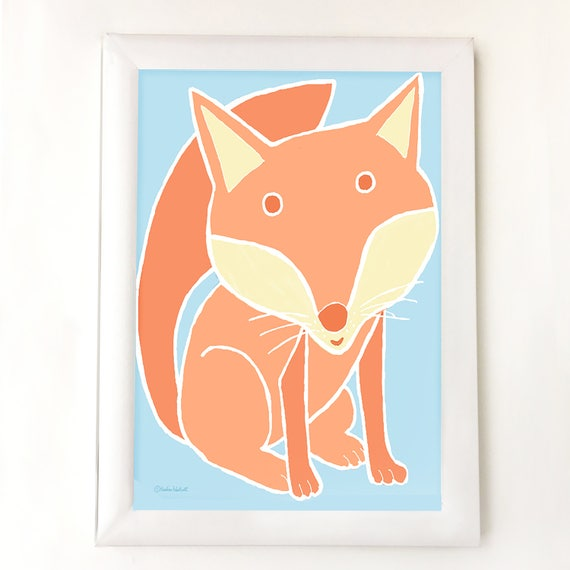 Woodland fox art for nursery, bedroom or playroom,  baby gift, children's decor, kids room art, fox illustration, fox art, kid's wall decor