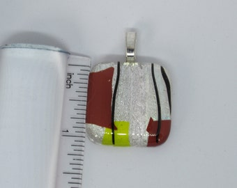 Dichroic Fused Glass Pendant - Multi Colored Silver, Brown, Yellow and Black Combo #0153