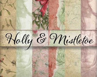 Holly and Mistletoe Vintage Christmas Holiday Backgrounds - Printable Papers - Journal Scrapbook Papers - 12x12 - Backgrounds - Set of 6