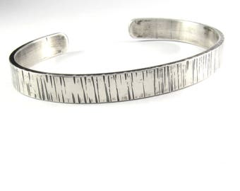 LINES Men's Sterling Silver Cuff Bracelet, Gift for Him
