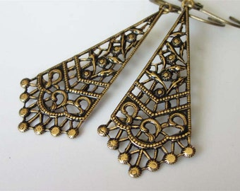Victorian Earrings, Victorian Jewelry, Filigree Jewelry, Floral Filigree Drop, Brass Earrings, Vintage Inspired