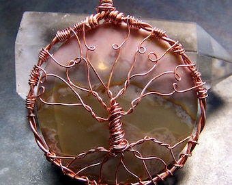 Sunset Agate Tree of Life necklace pendant in Copper - pink natural stone vintage cabochon cab handcrafted - autumn earth tones ooak
