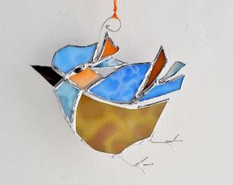 Stained Glass Bluebird. The Happy Bluebird. Home Decor. Suncatcher.