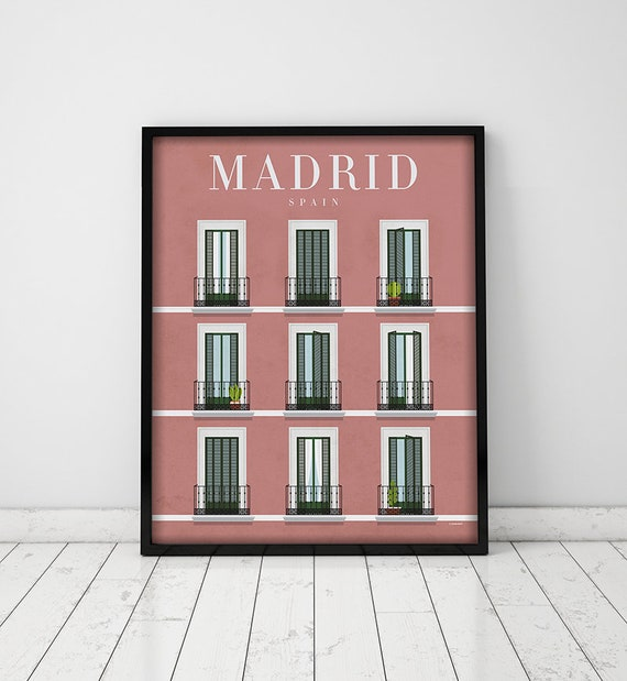 Madrid. Spain. Wall decor art. Poster. Illustration. Digital print. City. Travel.