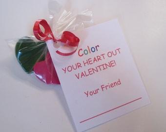 Heart crayon valentines non candy valentines school valentines