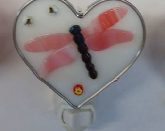 Dragonfly Night Light - Glass Heart Dragonfly Nightlight - Fused Glass Pink & White Nitelite