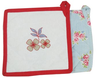 Floral Print Quilted Potholders (Set of 2) - Floral White & Blue Cotton Quilted Pot Holders, Kitchen Potholders, Set of 2 Fabric Pot Holders