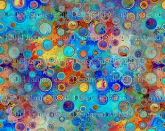 Artisan Abstract Made Kona Cotton Quilting Textile Art Fabric Panel Fiber Art Blue Polka Dot