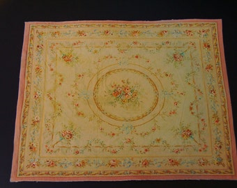 Dollhouse Miniature Room Size Rug, The Beautiful Antique Aubusson, One Inch Scale