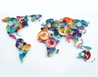 We Are The World Quilling Art - World Map Artwork, World 3D, Home Decor, Wall Decor, Wall Hanging