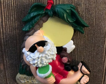 Personalized santa at the beach Christmas ornament