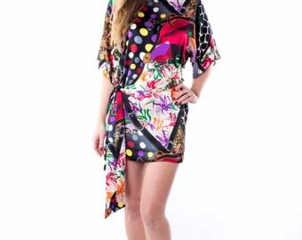 Silk Dress Mini, geometric pattern, silk belt, purple, red, blue