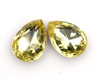 18x13mm Jonquil Yellow Glass Pear Teardrop Stones Jewels Gems, Foil Back, Quantity 2