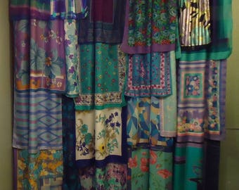 "Shades of Turquoise & Purple Gypsy Boho Curtains - 84"""